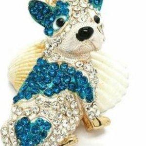 Jewelry - Gold Blue French Pug Bulldog Dog Necklace